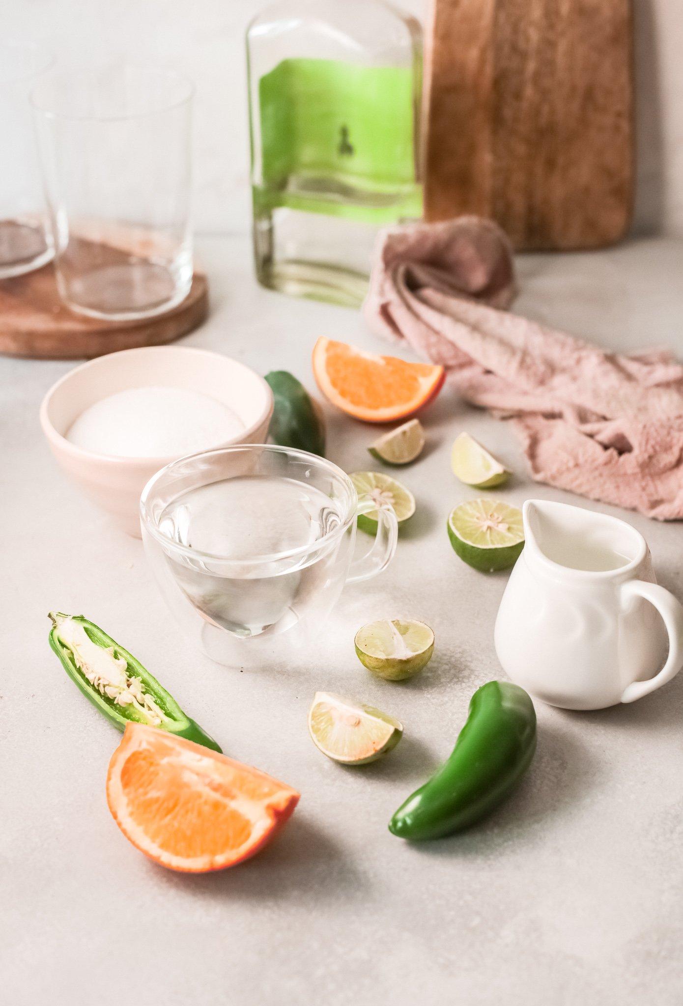 ingredients for spicy margaritas