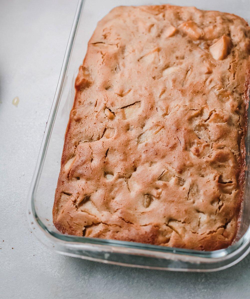 a pan of apple blondies