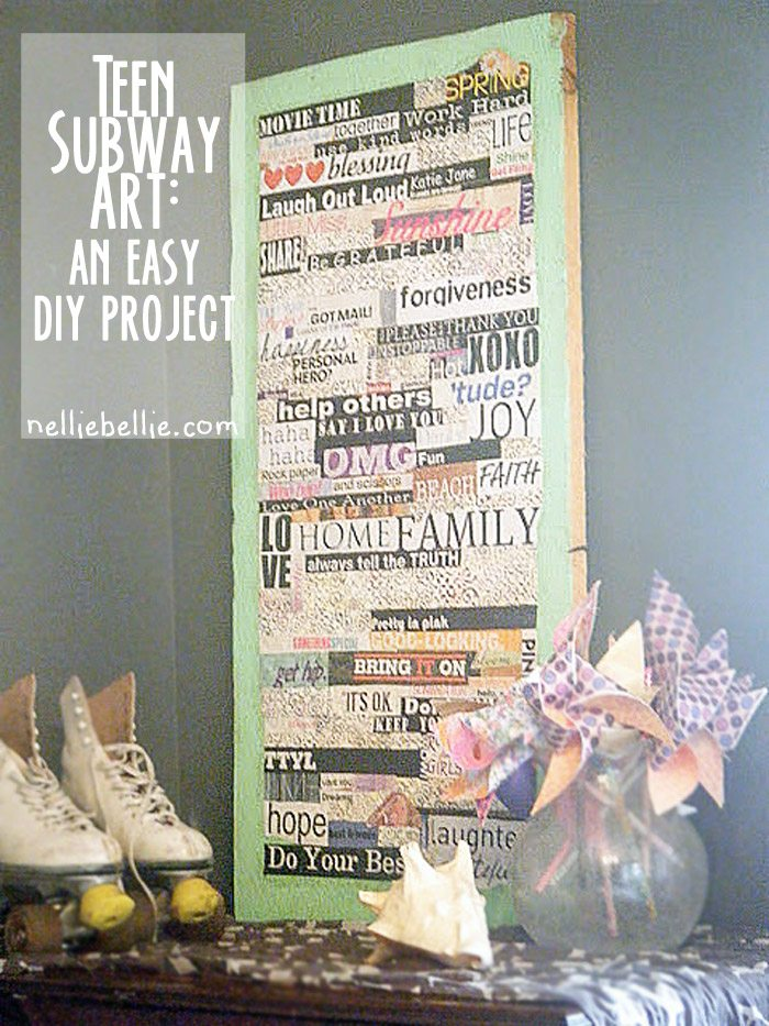 teen subway word art, a simple diy. This project is a great way to add more personality to a teen's room without the expense.