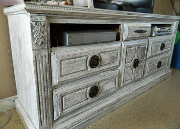 DIY TV stand, turn a dresser into a cabinet