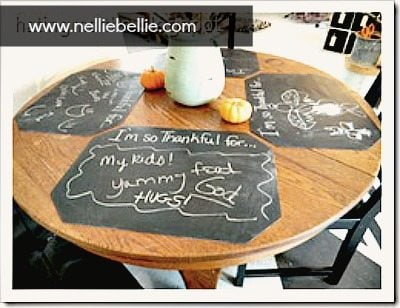 reversible chalkboard placemats made from $1 placemats at NellieBellie