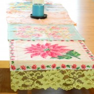 repurpose vintage hankies into a runner