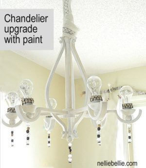 Chandelier update that creates a vintage, slightly industrial look.