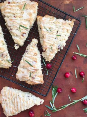 Cranberry Rosemary scones with orange glaze
