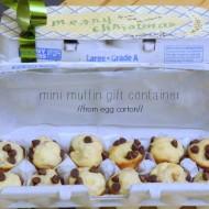 repurpose egg carton into min-muffin holder.