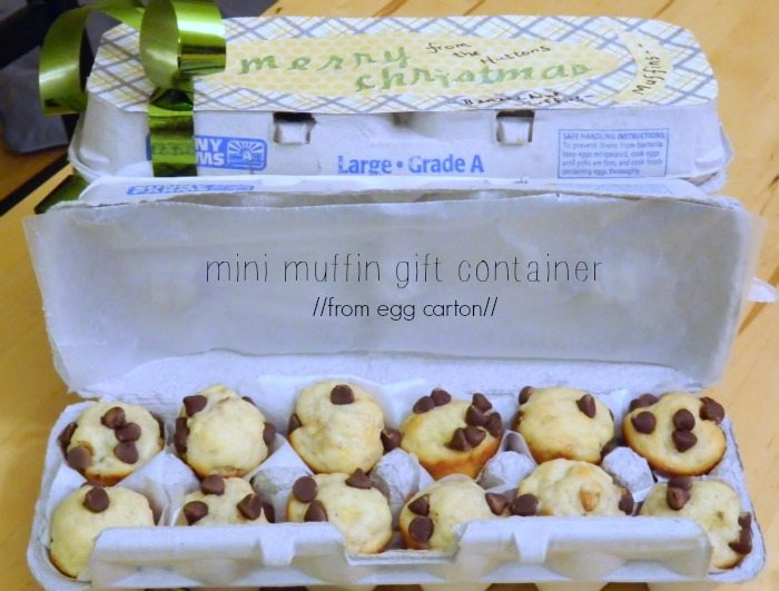 repurpose egg carton into min-muffin holder.
