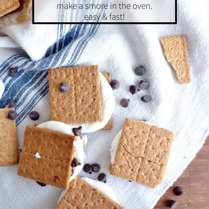 Make smores in the oven fast and easy. Perfect for those winter months! Oven smores are almost as good as the real thing, too!