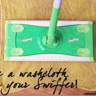 repurpose washcloths for Swiffer pads