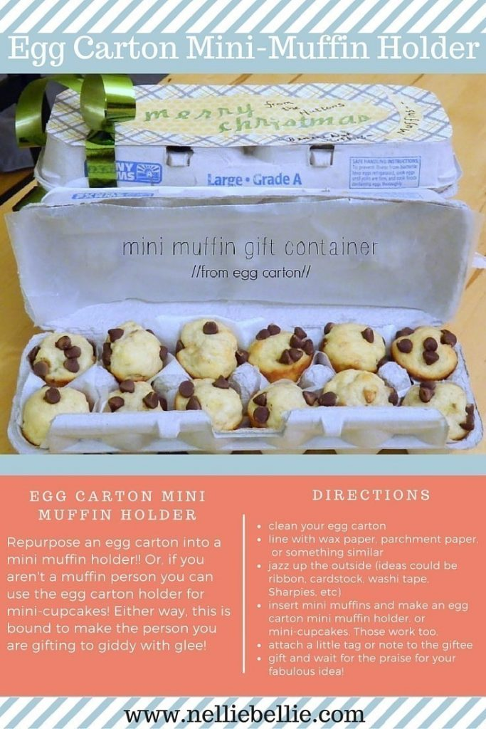 Turn egg cartons into mini-muffin holders. Or, mini-cupcakes :). A cute and easy way to gift muffins.
