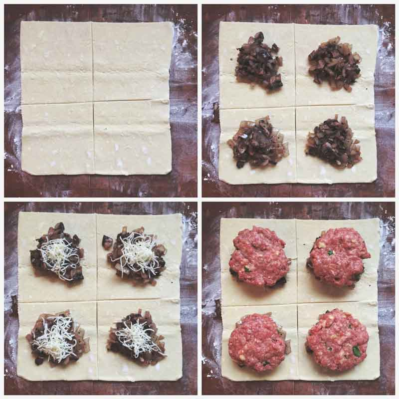 step by step instructions for how to make ground beef wellingtons
