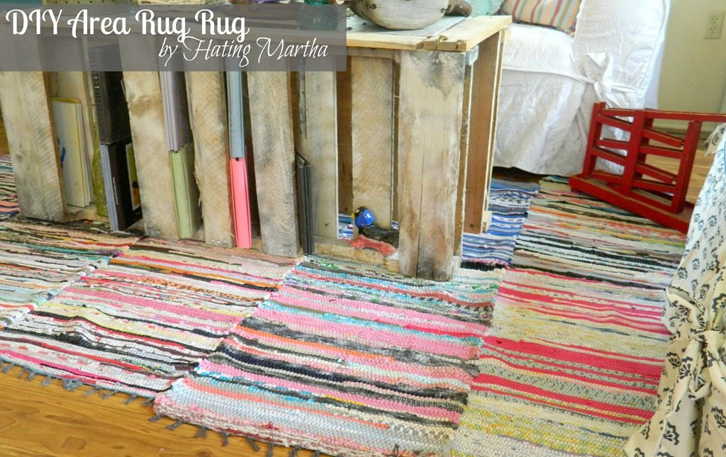 Cheap flooring ideas: rag rugs sewn together make a large diy area rug!
