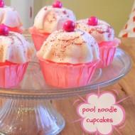 repurpose pool noodle: pretend cupcakes