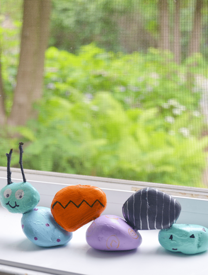 The garden rock caterpillar is a fun, and easy project to make with kids.