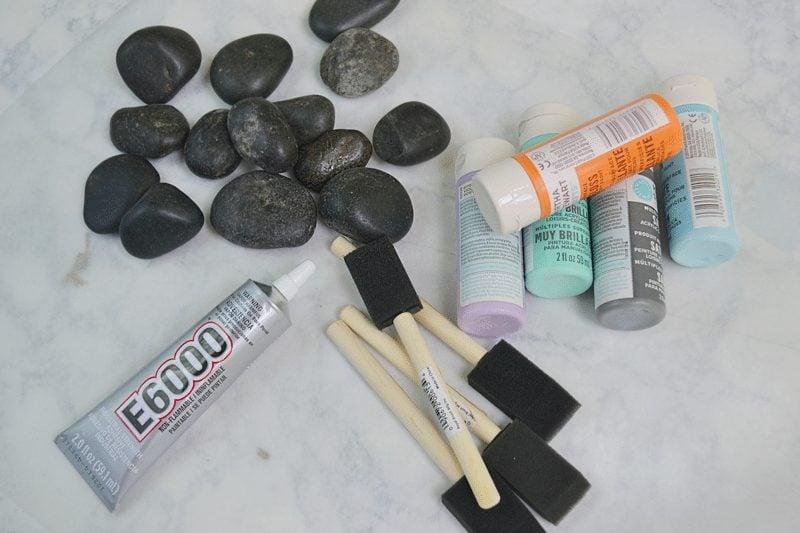 materials needed for garden rock caterpillar