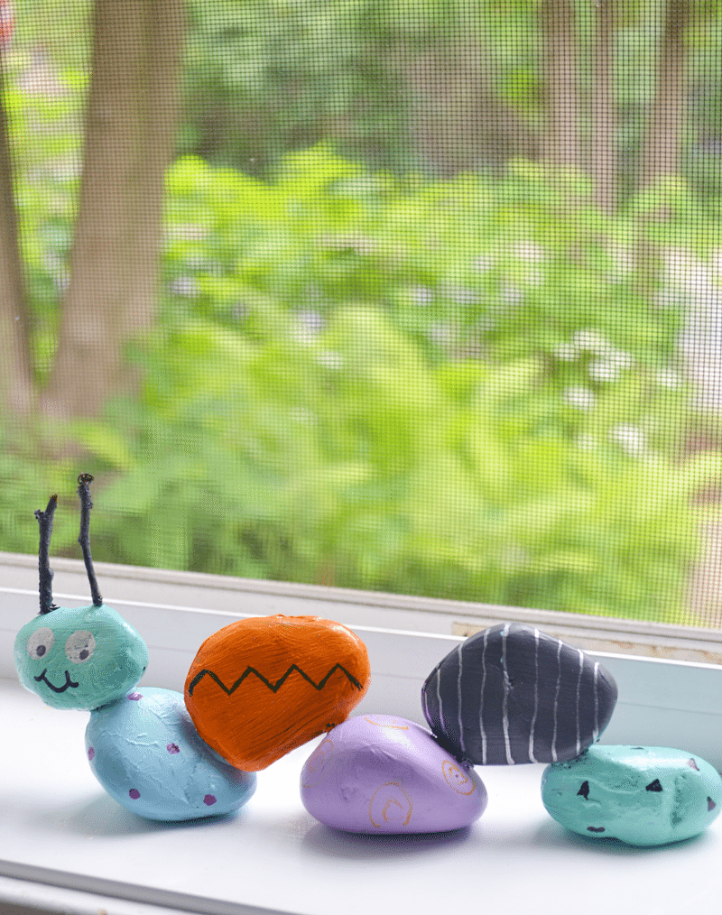 The garden caterpillar is a fun, and easy project to make with kids. All you need are rocks, glue, and paint.