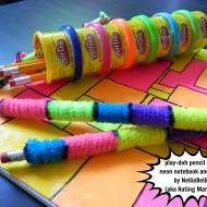 play-doh pencil case & neon supplies