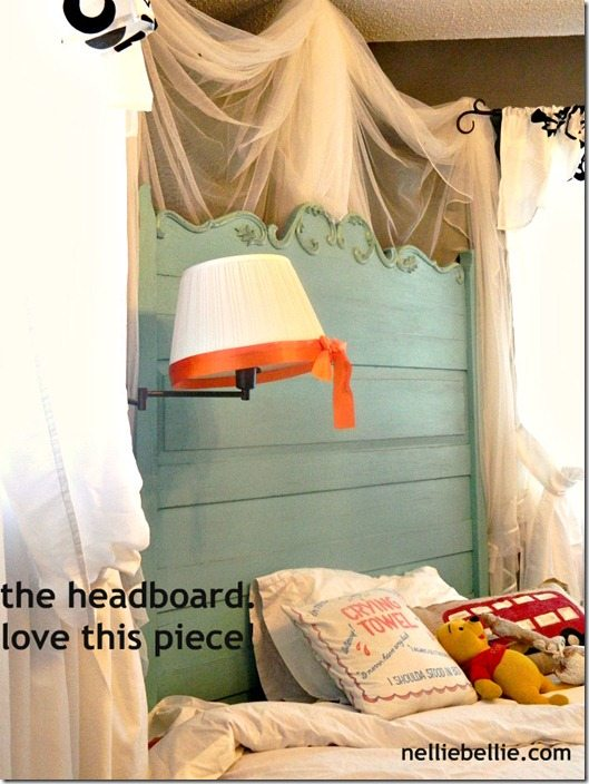 NellieBellie:teen bedroom antique turqoise headboard