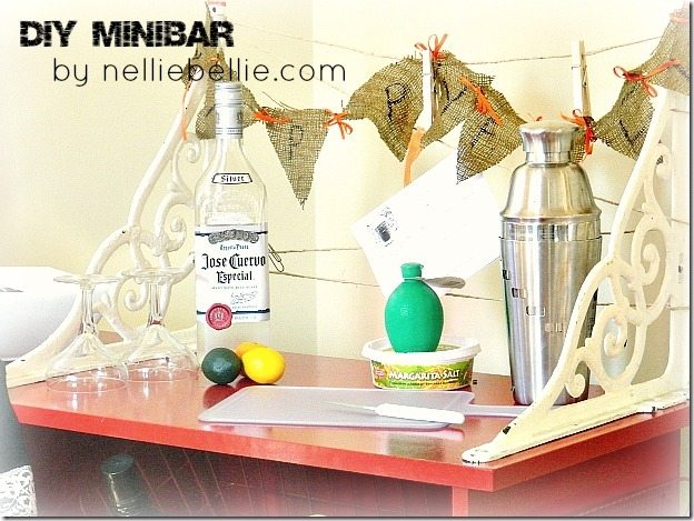 This DIY minibar was created from a free computer cart...by NellieBellie