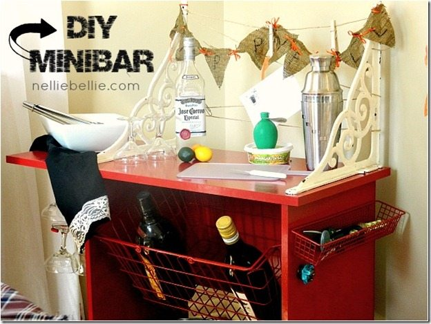 A DIY minibar created from a free computer cart...by NellieBellie