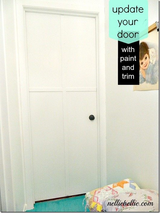 NellieBellie: update your builder grade door with trim, paint, and creativity