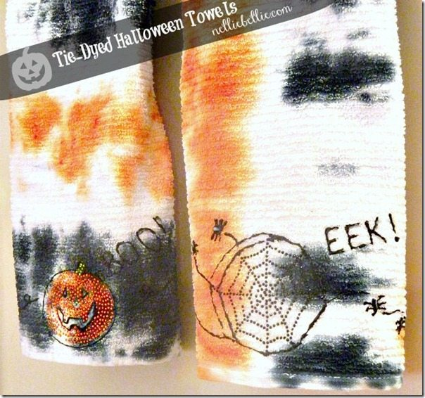 tie-dyed halloween dish towels with iLoveToCreat #crafts #iLoveToCreate