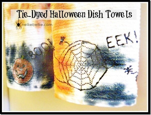 tie-dyed halloween dish towels with iLoveToCreate #crafts #iLoveToCreate