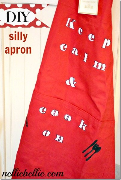 Keep Calm & Carry On apron by Nellie Bellie. A tutorial.