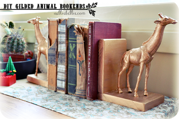 These diy animal bookends are made using gold gilding and two plastic toys. We love this project because it is so customizable, and these would make great easy gift ideas for a number of different people in your life.