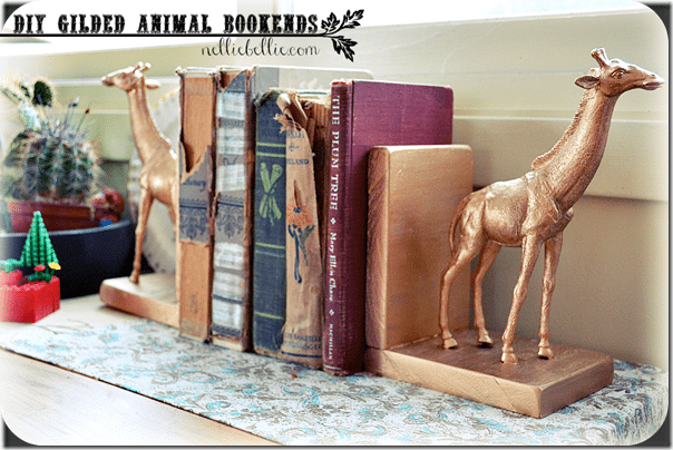 diy gilded animal bookends