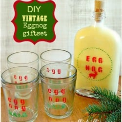 NellieBellie: DIY vintage eggnog giftset. You can use any combo of glasses and a flask to make this set!