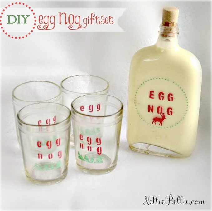 DIY eggnog gift set. a tutorial by NellieBellie.  This set is easy to make with any combo of glasses and flask, some stencils, and paint.  So cute!