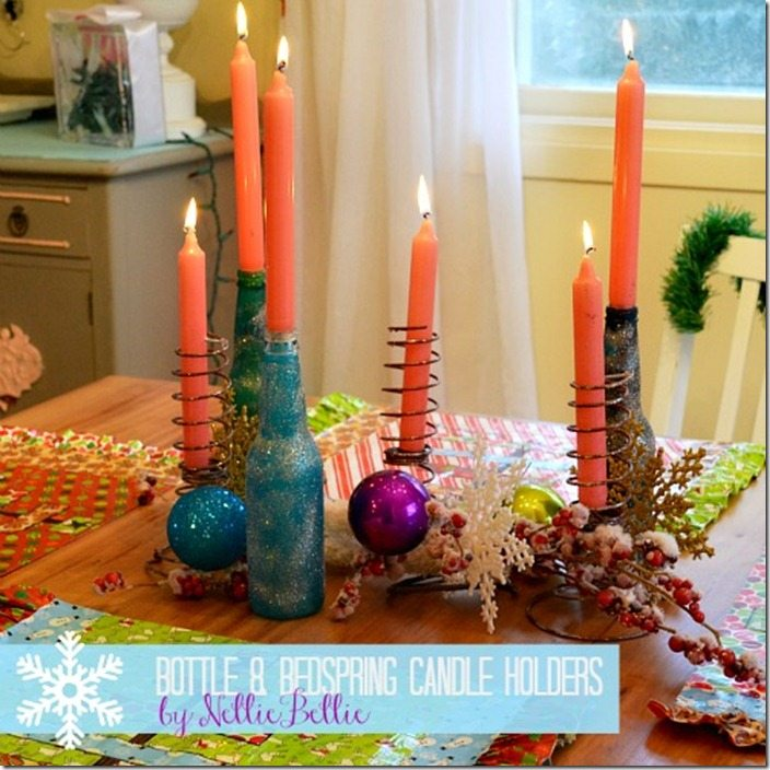 bedspring and bottle centerpiece by NellieBellie a tutorial.