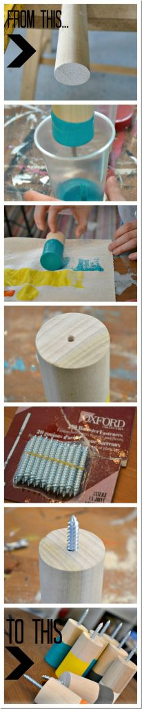Wooden coat hooks dipped in paint, an easy DIY that is inexpensive and uses minimal tools!  #diy #coathook