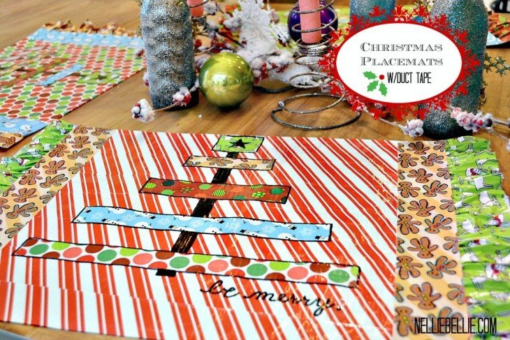 Simple steps to make duct tape Christmas Placemats