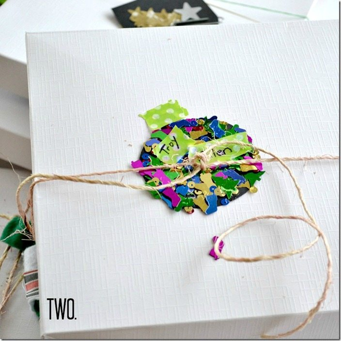 Sequin ornament gift tag: NellieBellie
