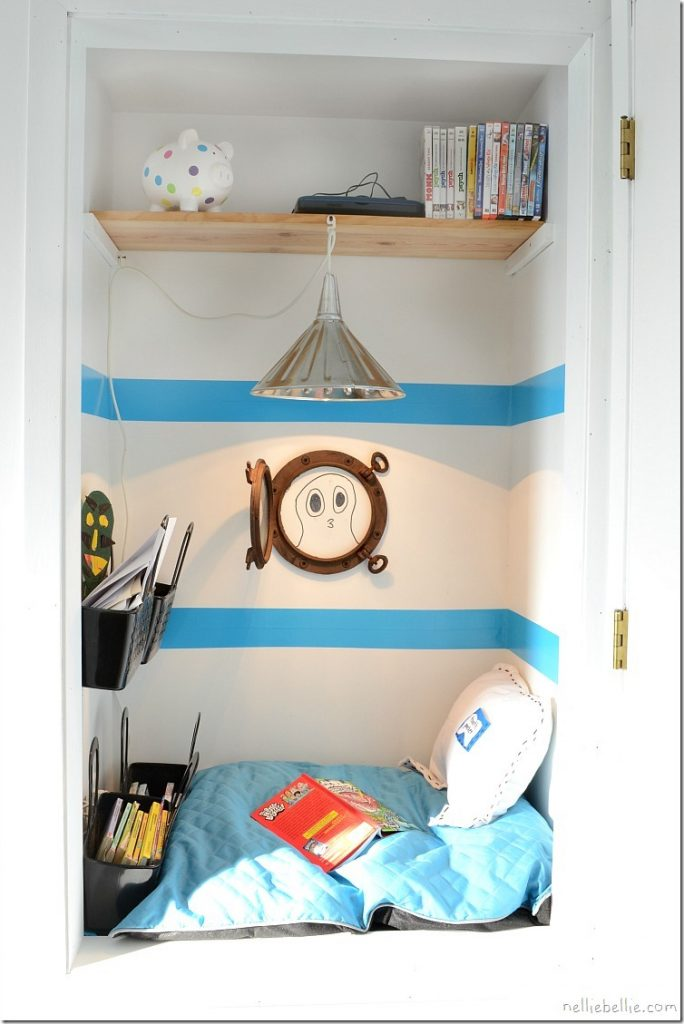 boy's reading nook closet