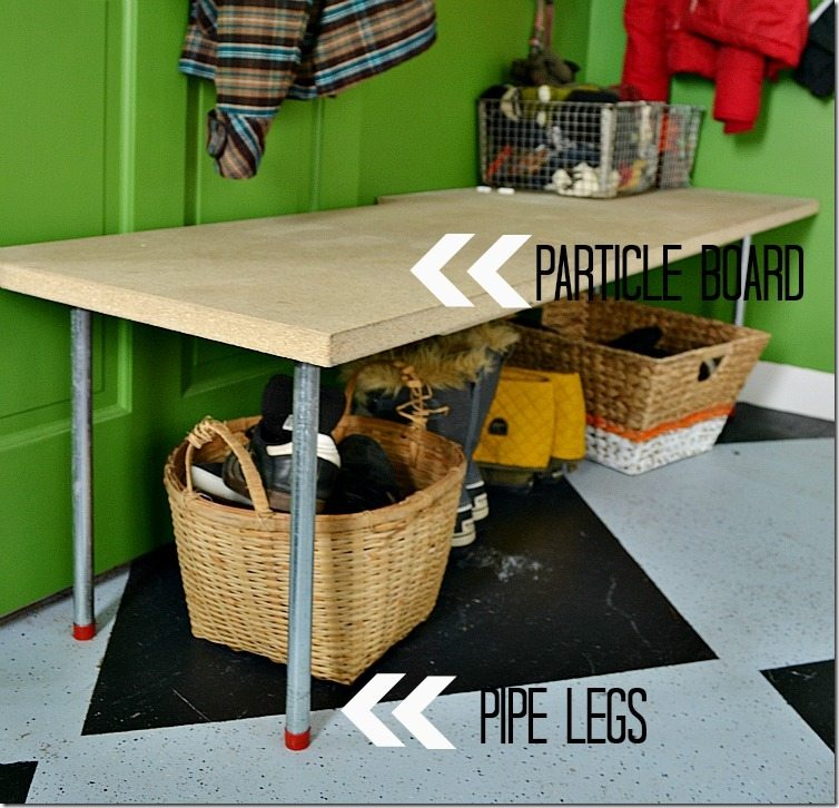DIY bench with pipe and board: a NellieBellie DIY tutorial