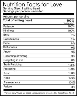 Nutrition Facts for love free printable. https://nelliebellie.com