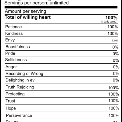 Love Nutrition Facts | Valentine's Day free printable