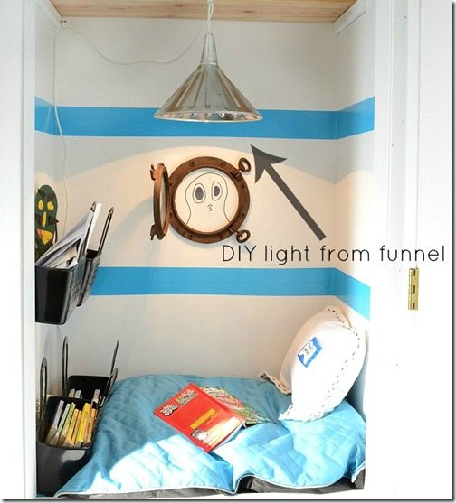 A hanging light from a light kit and a funnel. Fun fun! https://nelliebellie.com