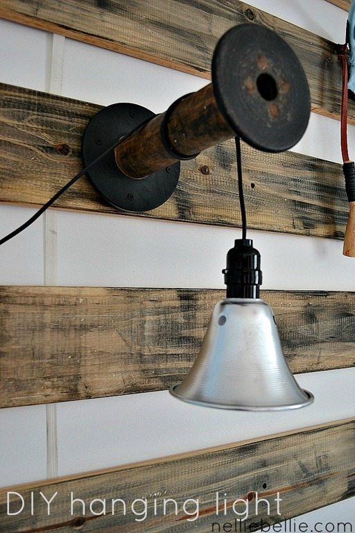 Diy light from shop light and wooden spool or any kind of bracket