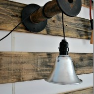 How to make a hanging light (from funnel and shop lights)