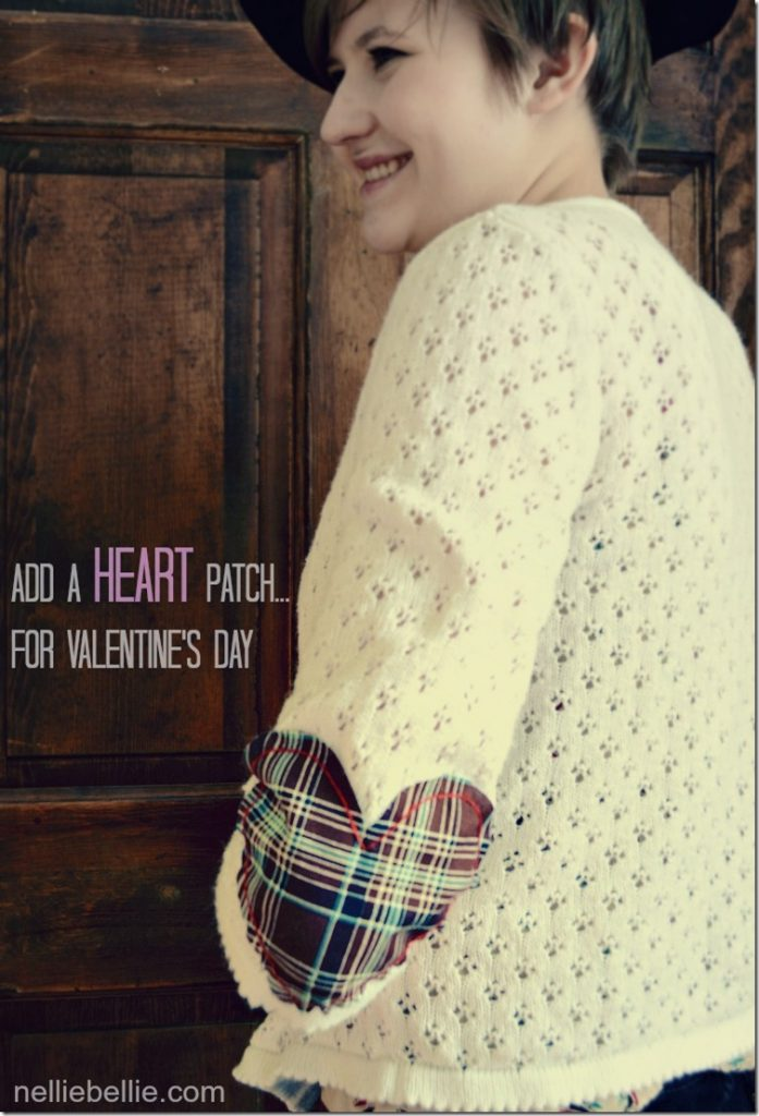 Add a heart patch to your cardigan to refashion it into a Valentine's Day piece! from https://nelliebellie.com