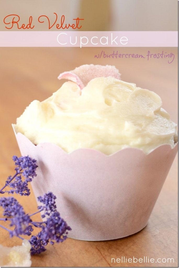 Red Velvet Cupcakes with buttercream frosting. And a tutorial for sugared flower petals. from NellieBellie