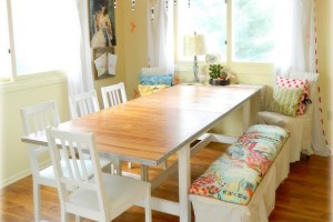 Dining room bench, an easy re-do from nelliebellie.com