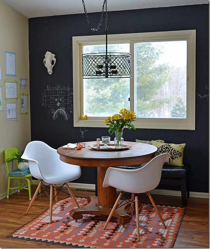 """dining room decorating in """"industrial schoolhouse"""" style."""