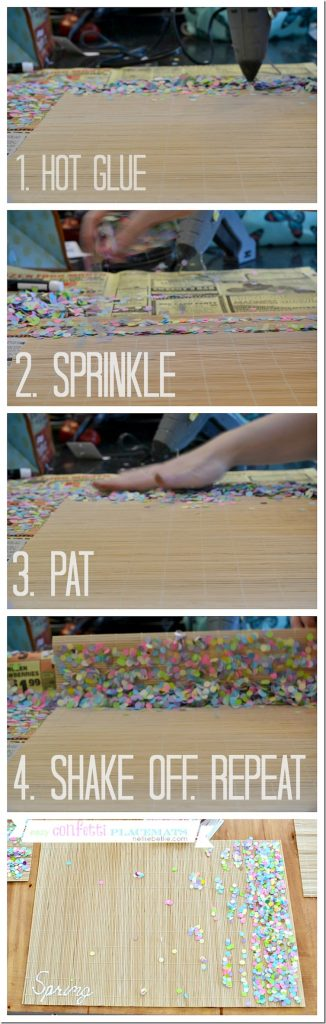 easy confetti place mat and tutorial