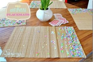 Simple confetti placemats from nelliebellie.com