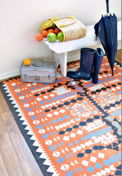 create a beautiful Aztec inspired rug with a dropcloth and paint.