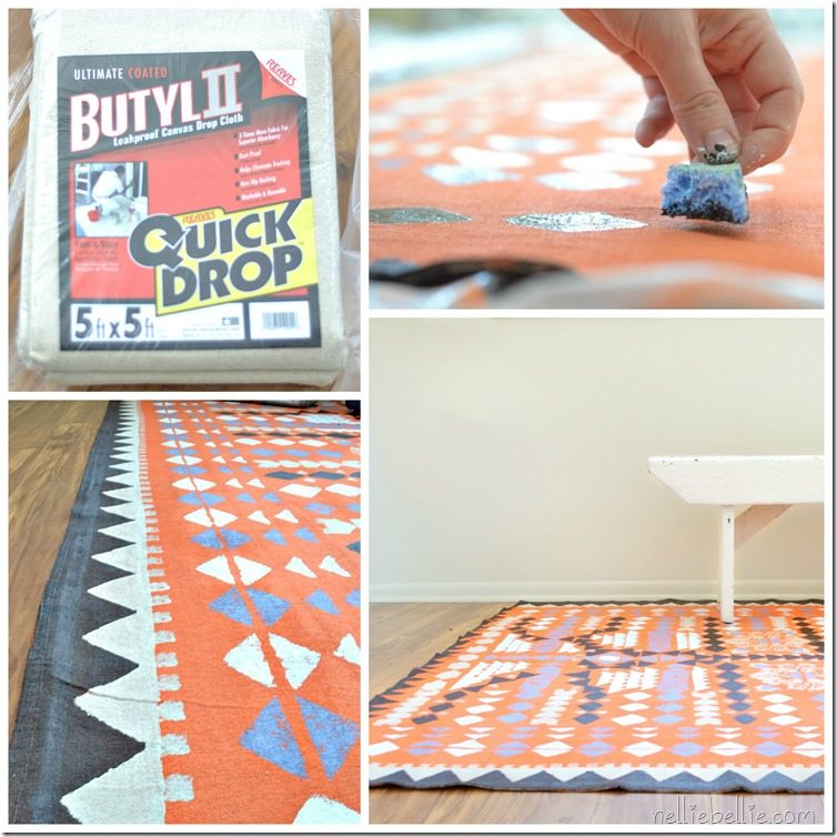 make a dropcloth rug with paint. Full tutorial.